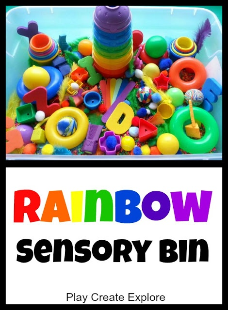 Practice the colors of the rainbow with a simple rainbow sensory bin.