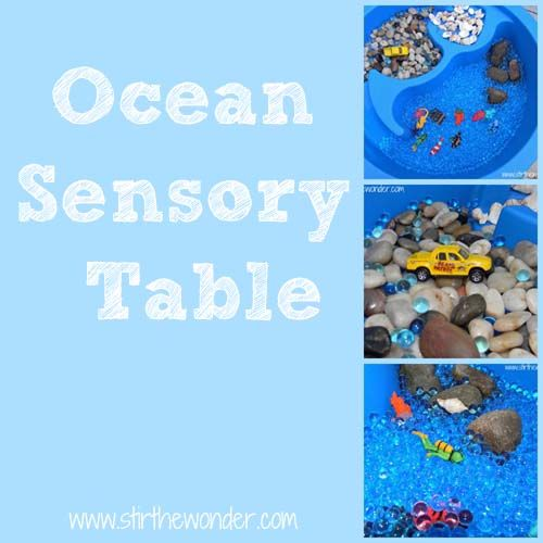 Ocean themed sensory play for toddlers.