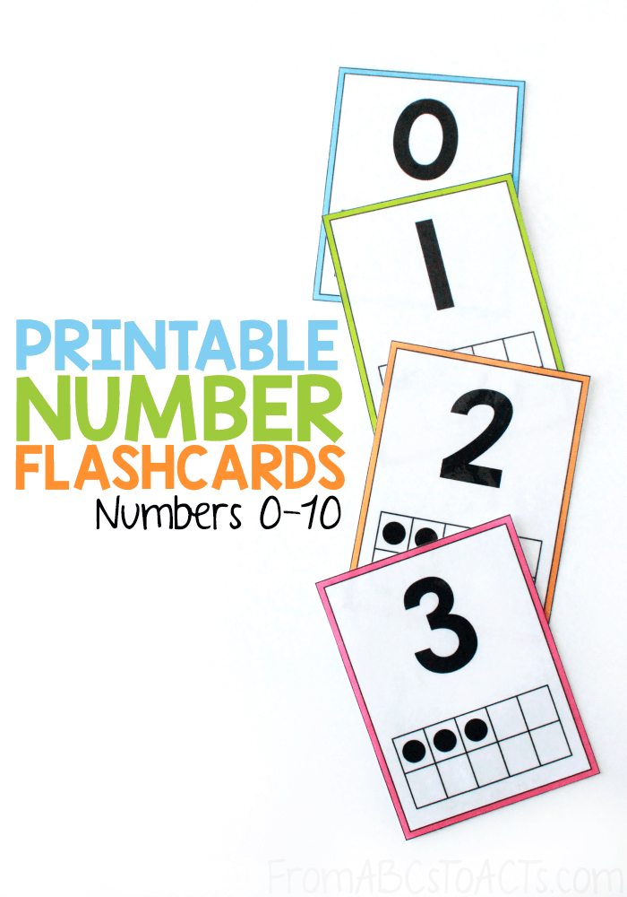 Are you working on teaching your toddler or preschooler their numbers to 10? These simple number flashcards allow you to practice counting 0-10, number recognition, and one to one correspondence all at the same time! #FromABCsToACTs