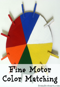 Fine motor color matching for toddlers with a diy color wheel