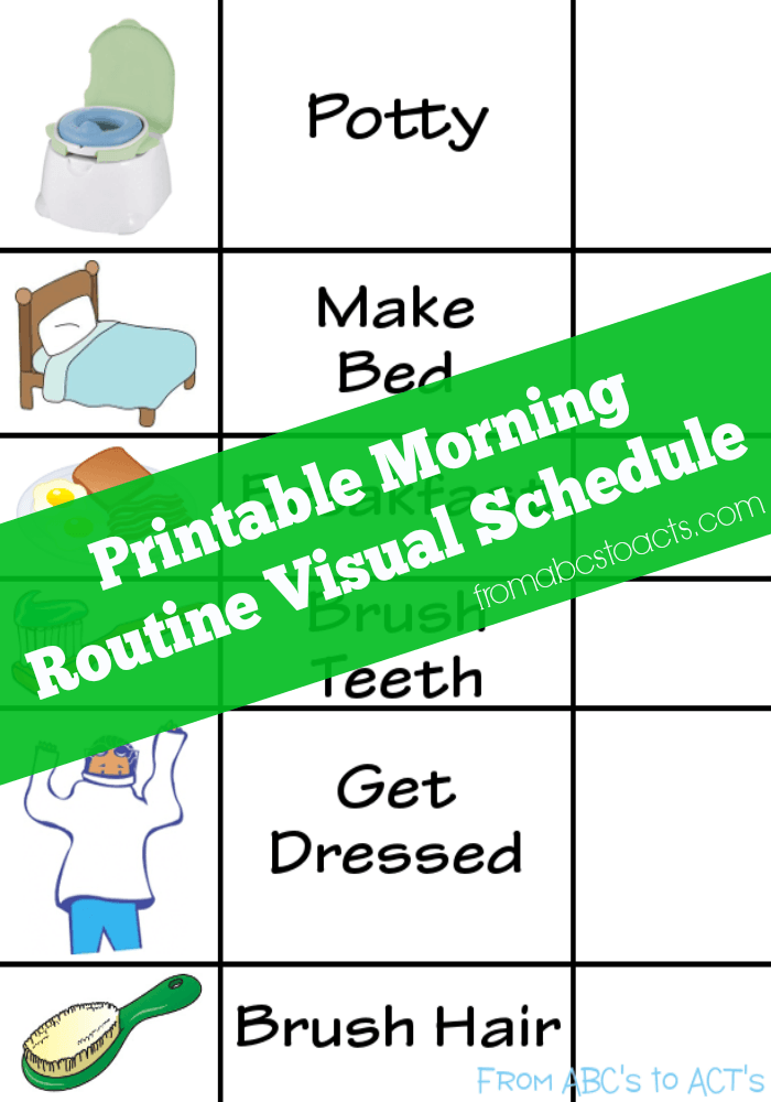 Visual Schedule printable for autism