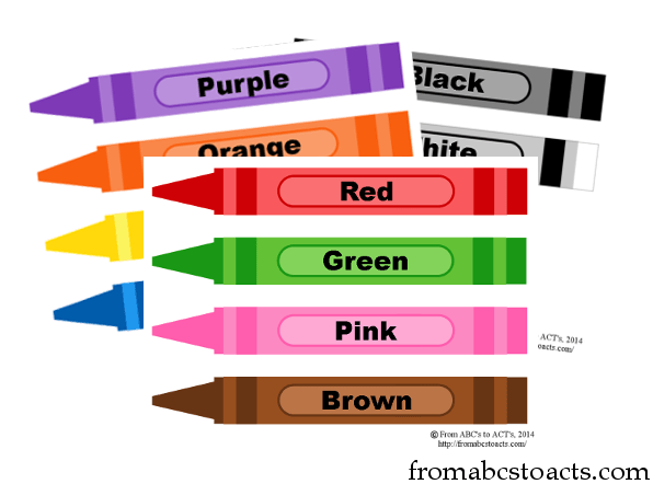 Printable crayon color flashcards from abcs to acts for Crayon labels template