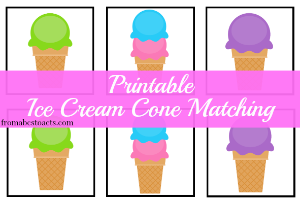 Ice Cream Cone Matching Printable - Ice Cream Cone Printables