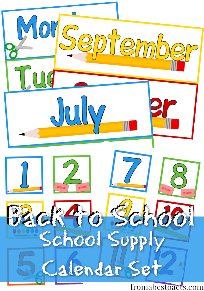 School Supply Calendar Set for the Classroom or for Homeschooling Preschool
