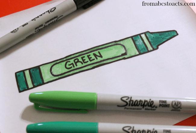 Crayon Sharpie labels for organizing preschool supplies