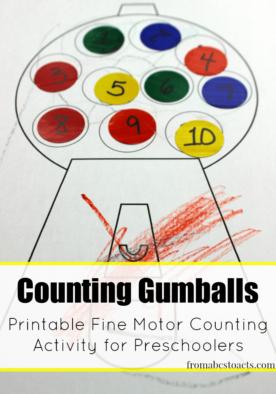 Gumball Counting Fine Motor Activity for Preschoolers
