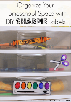 Organize homeschool spaces with DIY Sharpie labels