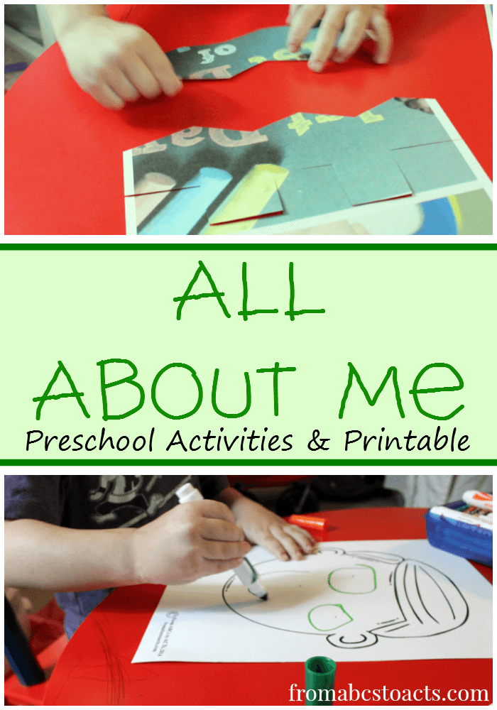 Preschool Activities and Printable for All About Me Theme