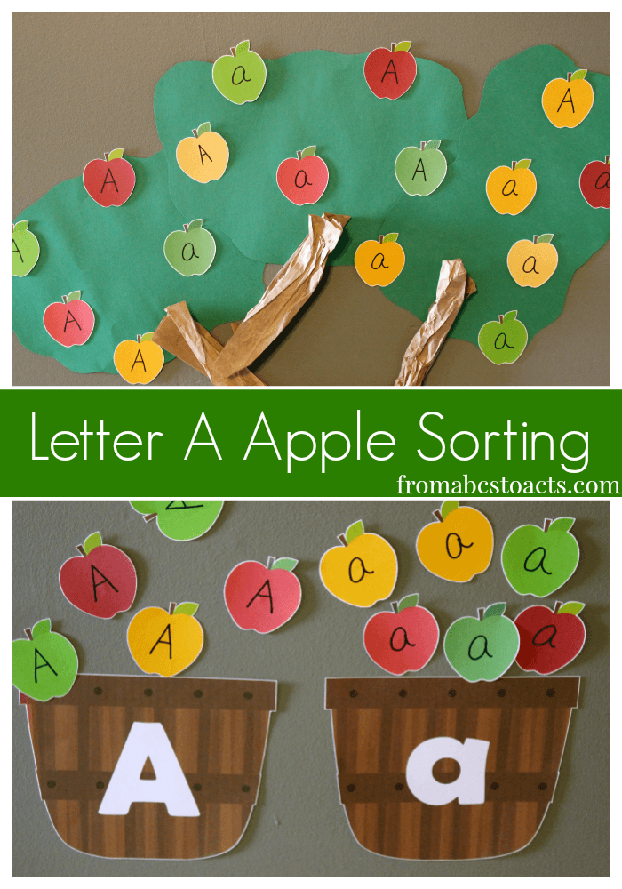 Letter A Apple Sorting for Preschoolers - A is for Apple
