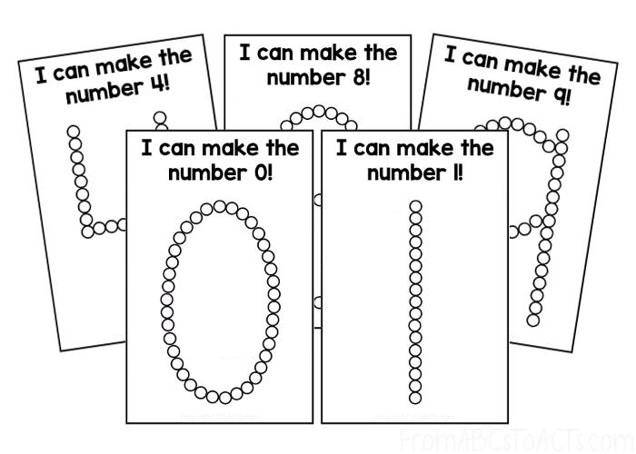 Q-Tip Number Cards for Kindergartnners