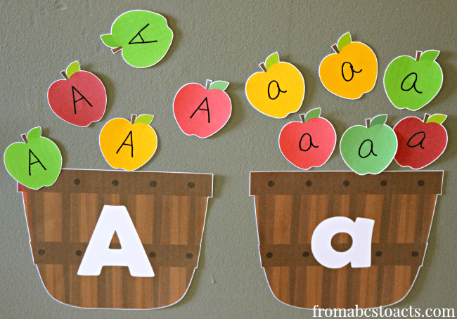 Sorting Letter A Apples into Big A Little a Baskets