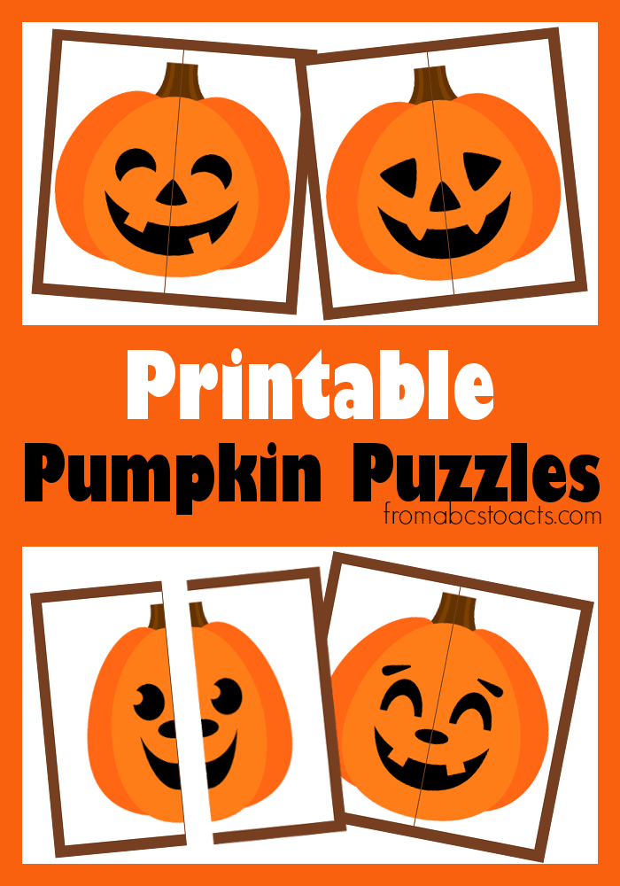 Printable pumpkin puzzles for preschoolers