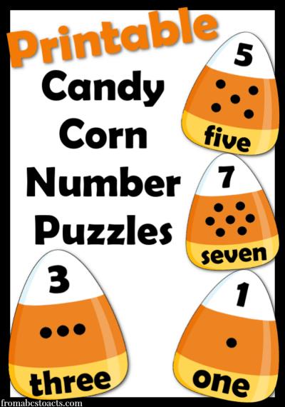 halloween activities for preschoolers - candy corn number puzzles