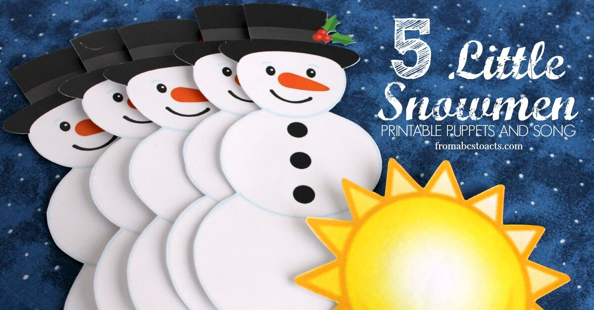 photograph regarding Printable Snowmen Pictures identified as 5 Very little Snowmen: Printable Puppets and Track Against ABCs in the direction of Functions
