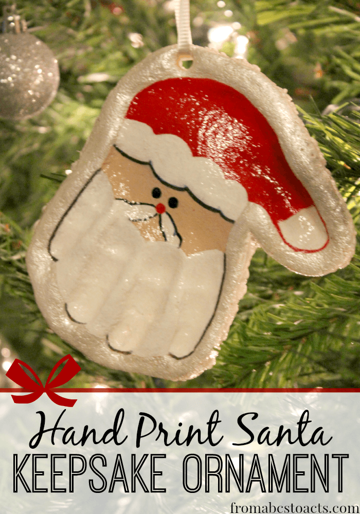Salt Dough Hand Print Santa Ornament