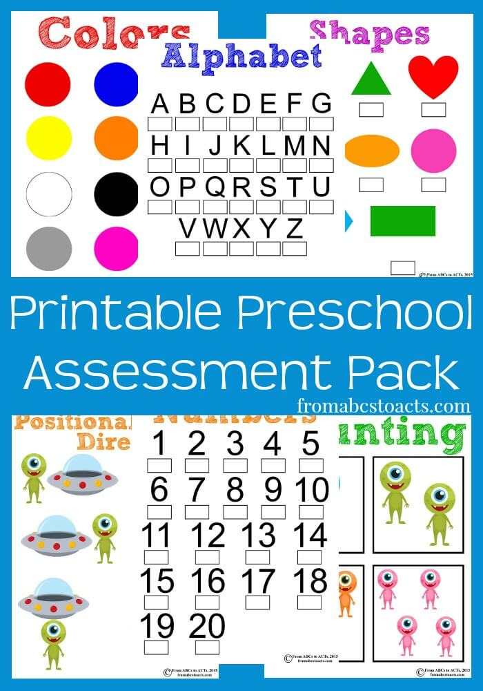 Printable Assessment Pack For Preschoolers