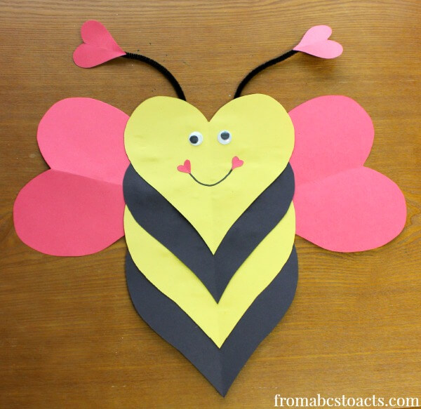 Bee mine valentine heart craft for kids from abcs to acts for Valentines day toddler crafts