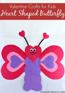 heart shaped butterfly valentine craft for kids