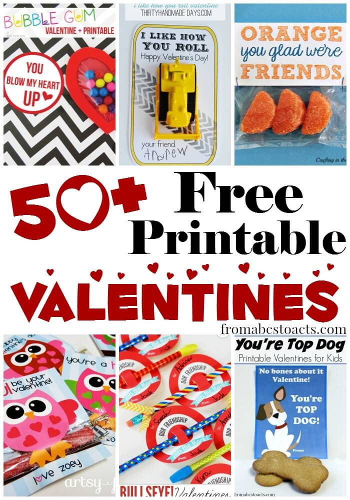graphic about Valentines Free Printable named 50+ Totally free Printable Valentines for Youngsters Against ABCs in the direction of Functions