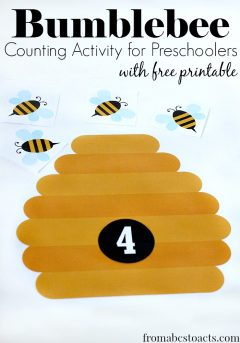 free printable bumblebee counting - math activities for preschoolers