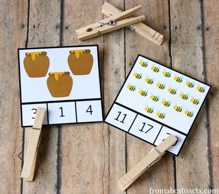 count and clip cards for preschoolers - bumblebee