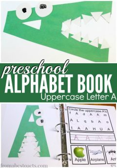 preschool alphabet book uppercase letter a