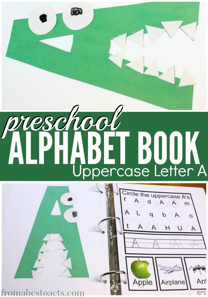 preschool alphabet book uppercase letter a