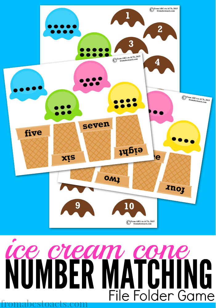ice cream cone printable number matching file folder game