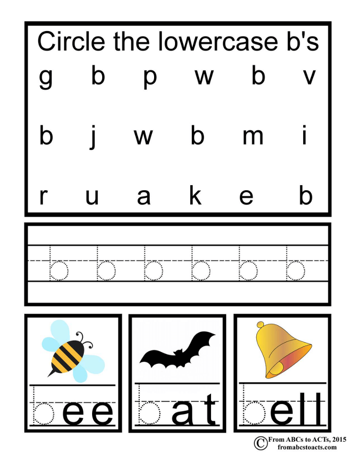 Preschool Alphabet Book Lowercase Letter B From Abcs To Acts. Alphabet Book Lowercase B. Printable. Printable Letters Of The Alphabet Upper And Lower Case At Clickcart.co