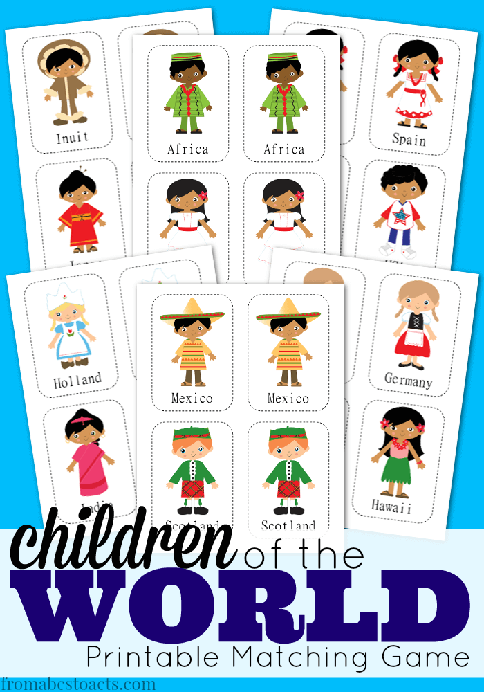 Children Of The World Printable Matching Game From Abcs To Acts