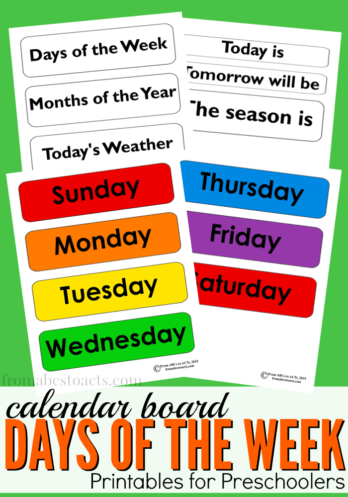 photo relating to Free Preschool Calendar Printables named Times of the 7 days Calendar Board Printable Versus ABCs in direction of Functions