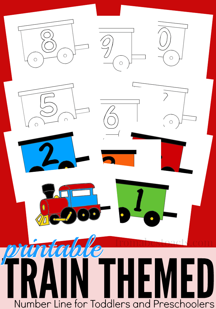 Perfect for toddlers and preschoolers that are obsessed with trains!  This printable number line is available in both color and black and white and would be the perfect addition to your homeschool room!