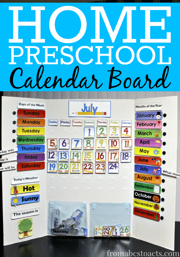 Calendar Activities For Kindergarten Students : Home preschool calendar board from abcs to acts