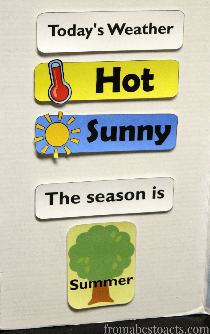 Teaching weather and season in home preschool.