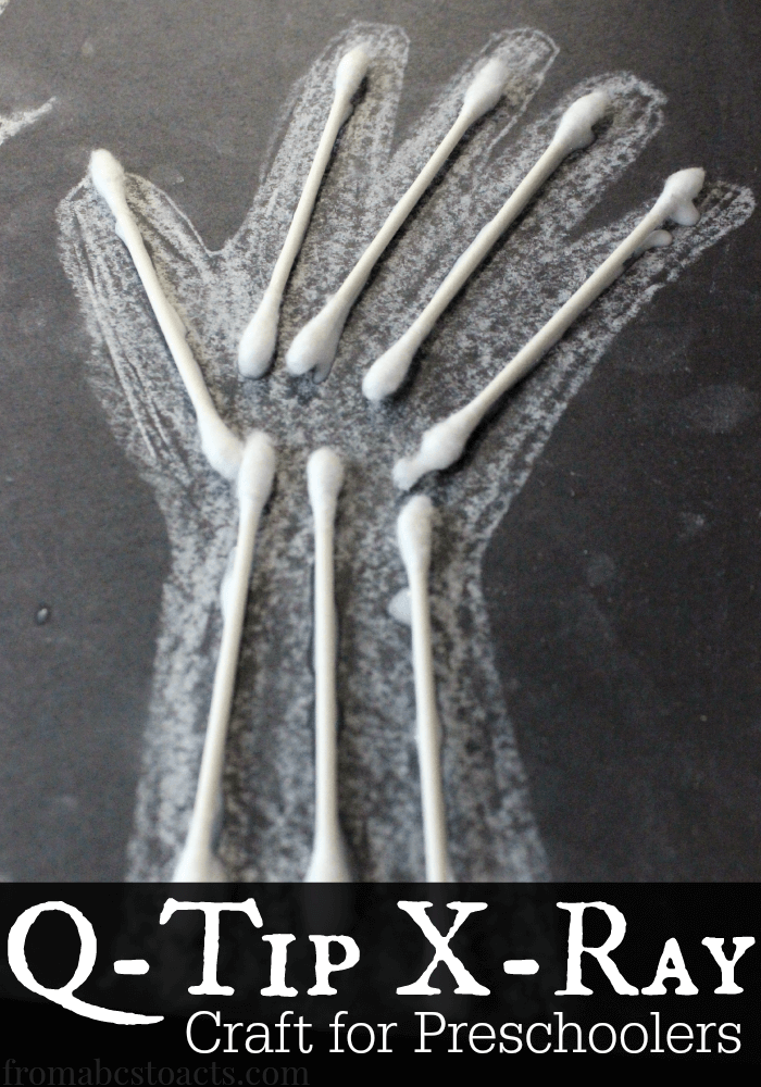 Introduce your preschooler to the bones of the body as part of an All About Me or My Body theme with this fun x-ray craft made out of Q-Tips!