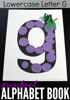 What begins with the letter G? Grapes of course! This lowercase letter G craft for preschoolers is a great way to practice!