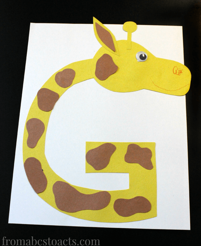 letter g crafts preschool alphabet book uppercase letter g from abcs to 22861 | Letter G Giraffe Uppercase Alphabet Letter Crafts for Preschoolers