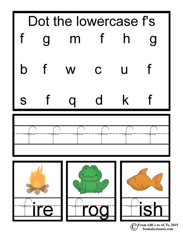preschool alphabet book lowercase letter f from abcs to acts
