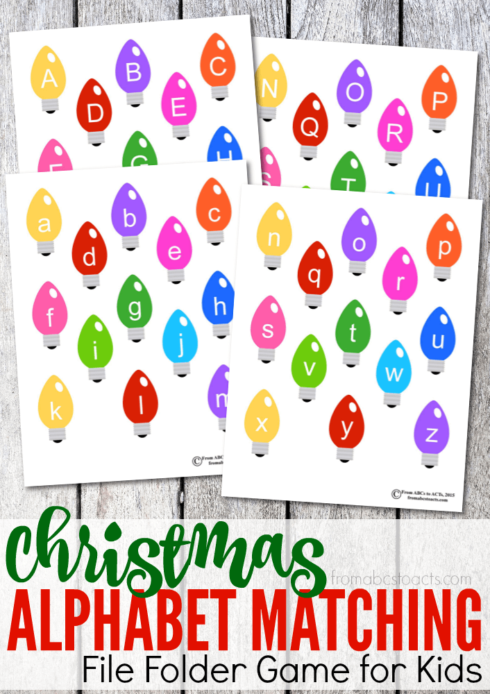 image about Printable Christmas Letters referred to as Printable Xmas Alphabet Matching Document Folder Activity