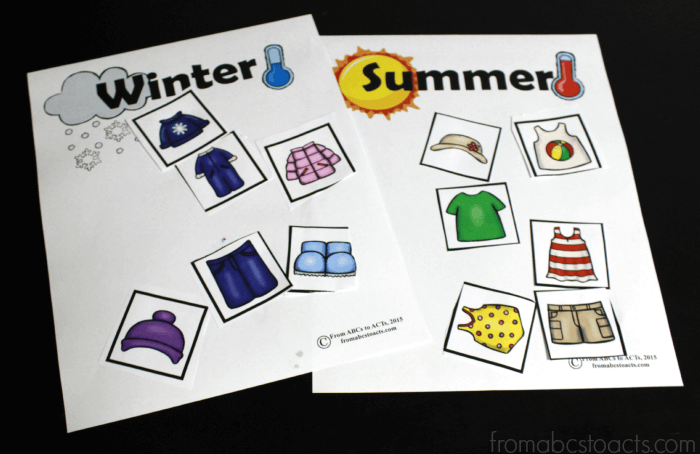 Clothing Cut and Paste for Preschoolers