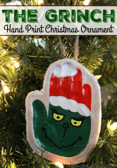 Decorate your Christmas tree with hand prints! This adorable Grinch hand print keepsake ornament is the perfect way to decorate for the holidays while making memories with your little ones at the same time!