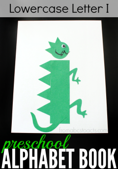 This lowercase letter I iguana is going to make a fantastic addition to our preschool alphabet book!