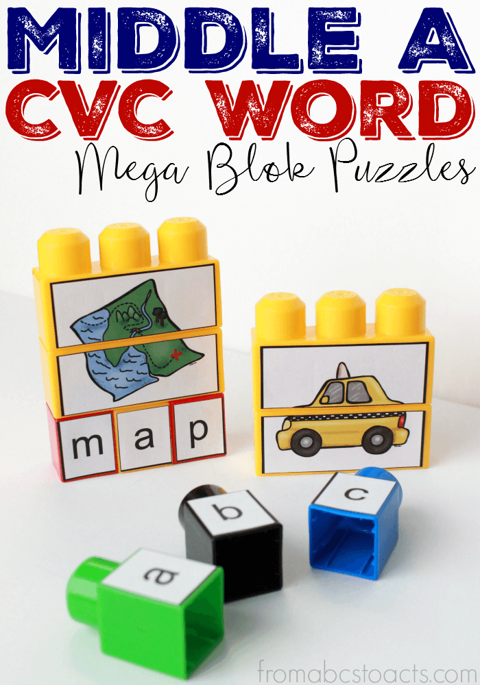 Extend the life of your Mega Bloks toys with these free middle A (Short A sound) CVC word puzzles!