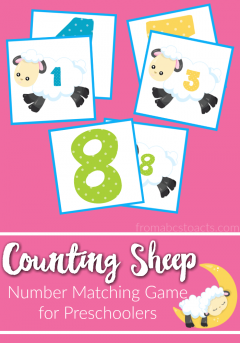 Practice number recognition with this free printable counting sheep number matching game for preschoolers!