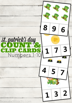 Rainbows, pots of gold, and Leprechaun hats. Count them all with these adorable St. Patrick's Day count and clip cards for preschoolers!