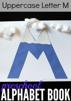 Learn the letters of the alphabet with crafts! This uppercase letter M mountain is perfect for preschoolers and so much fun to make!