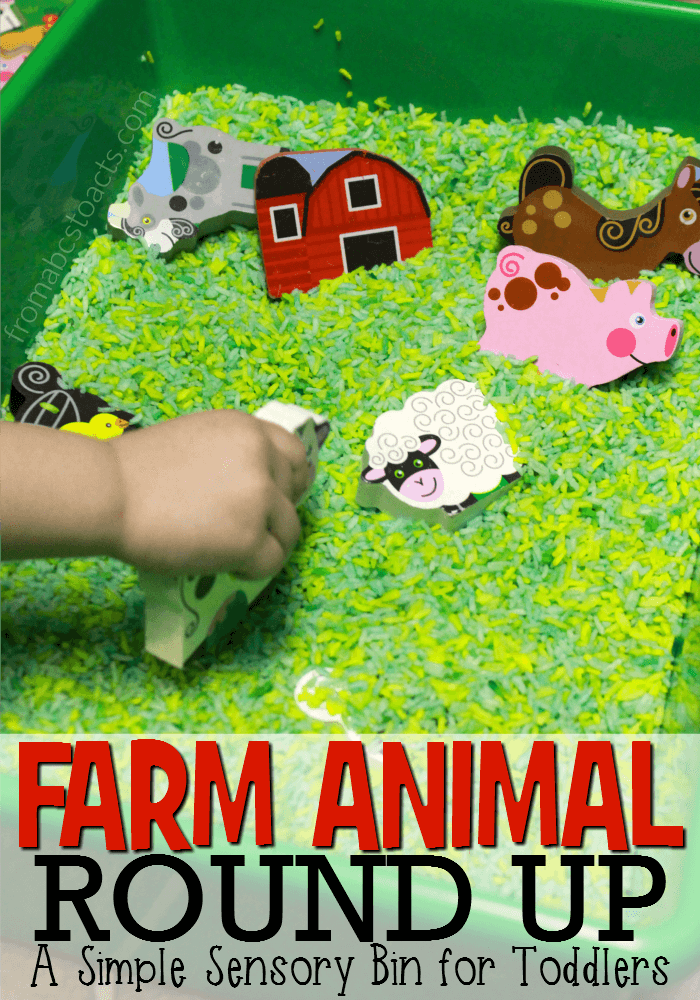 Teach your toddler the names and sounds of farm animals with a fun farm animal round up sensory bin!
