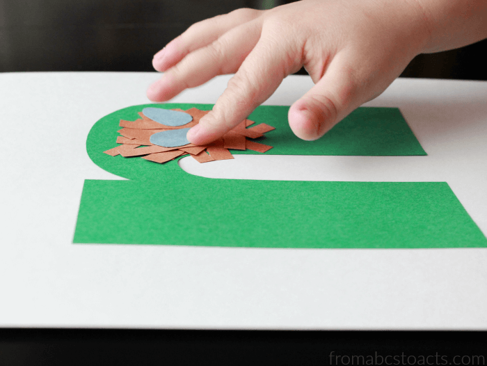 Lowercase N Nest Craft for Preschoolers
