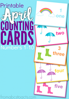 Help your preschooler count their way through those April showers with these fun (and free!) spring themed counting cards!