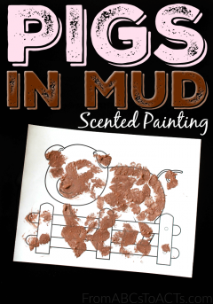 Who said muddy pigs have to smell bad?! Create your own cinnamon scented piggy painting with your preschooler and add a little fun to your farm theme unit!